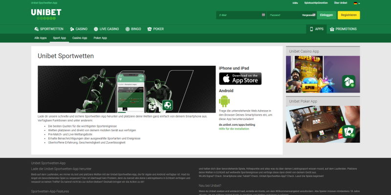 Unibet Mobile Apps